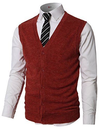 H2H Men's Wool V Neck Sleeveless Knitted Button Down Sweater Vest Waistcoat Brick US M/Asia L (CMOV046)