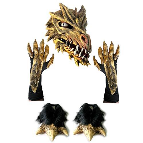 (Deluxe Golden Dragon Costume Set Latex Mask Gloves & Feet )
