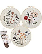 3 Sets Beginners Embroidery Kit with Pattern and Instructions, Cross Stitch Starter Kit, 3 Embroidery Clothes with Pattern, 3 Embroidery Hoops, Color Threads