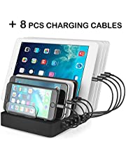 Aizbo USB Charging Station, 8-Port Multiple Device Charging Dock Desk Organizer Detachable Charge Station, 96W 2.4A Universal For iPhone / iPad / Smartphones / Tablets (Charging Cables NOT Included)