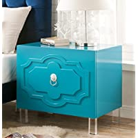Iconic Home Fez Stylish Accent Furnishing Modern Lacquer-Finish Lucite Leg Side Table, 26X18X25 Turquoise