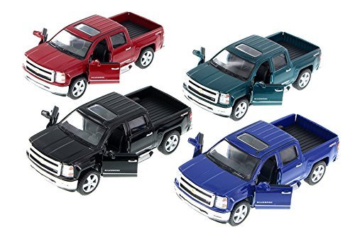 2014 Chevy Silverado Pick-up Truck, SET OF 4 - Kinsmart 5381D - 1/46 Scale Diecast Model Toy Cars (Chevy Silverado Model Truck)