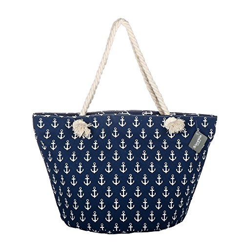 Large Cotton Beach Bag Tote ,RiscaWin Zipper Top Rope Handles Beach Bag(Navy Nauti)