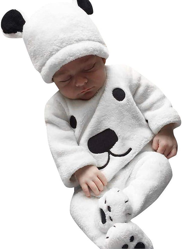 LANSKIRT Ropa para Recién Nacido Infantil bebé niños niñas Conjunto de impresión de Oso de Manga Larga Top + Pantalones + Sombrero Invierno 3PCS Blanco: Amazon.es: Ropa y accesorios