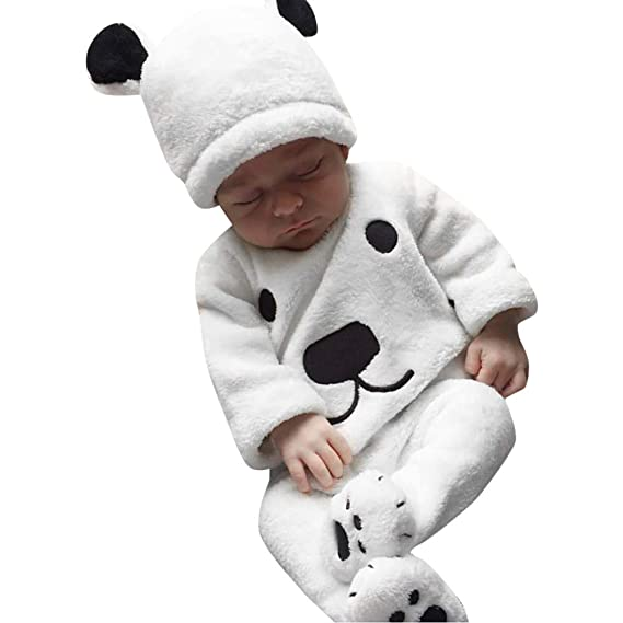 Amazon.com: Opeer 3Pcs Winter Newborn Baby Girl Boy Cartoon Tops ...