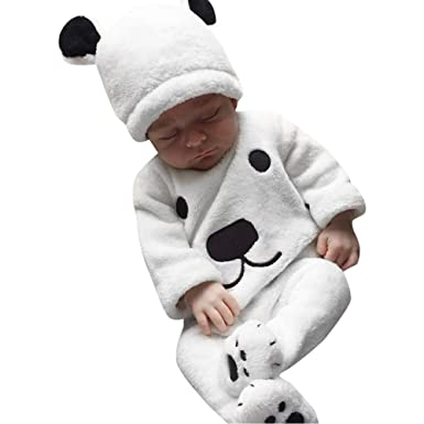 1a8d6e2ee LANSKIRT Ropa para Recién Nacido Infantil bebé niños niñas Conjunto de  impresión de Oso de Manga Larga Top + Pantalones + Sombrero Invierno 3PCS  Blanco  ...