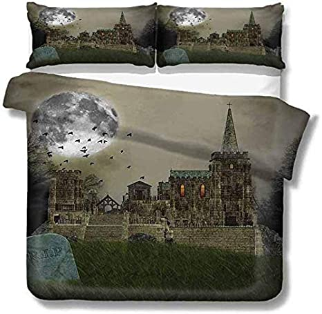 SUPERQIAO Paquete de 3 Camas Old Village and Graves con Castillo Medieval y pájaros de Luna Llena Fog Horror Art Polyester Beige Green