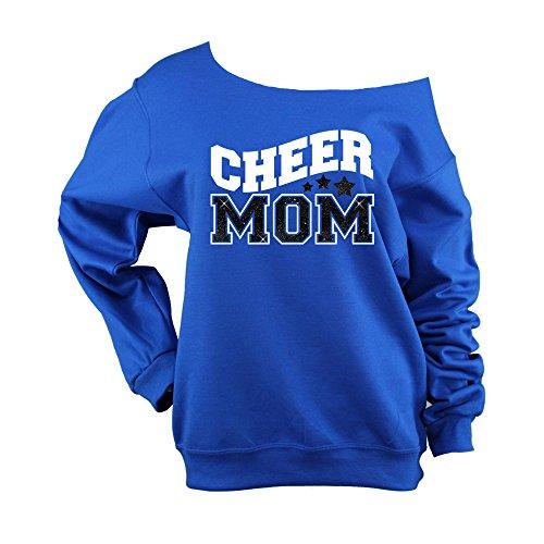 Bella Designs Activewear Cheer Mom Sweatshirt Glitter Raw Edge Off Shoulder - BD947 (Choose Your Colors) (562 Royal - Wht Vinyl/Blk Glitter, 2X (Choose Vinyl Color)