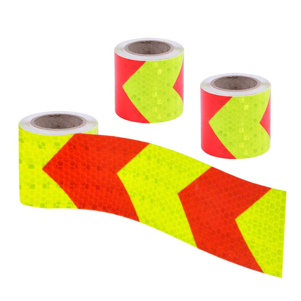 Viewm 3m Reflective Tape for Trailers Safety Tape Warning Arrow Sticker, 2 Inch x 3.28 Yard / 5cm x 3m, 3 Rolls, Red and Yellow