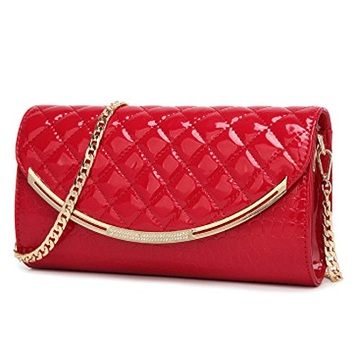 IBELLA Fashion Bridal Clutch Purse 1 Evening Red Women Leather Wedding rg5Swvrq