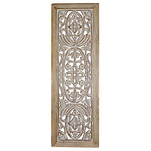 Benzara BM01908 Rectangular Mango Wood Wall Panel Hand Crafted with Intricate Carving, White and Brown