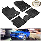 KIWI MASTER Floor Mats Liners Compatible for 2017-2019 Jeep Compass Front & 2nd Row Seat All Weather Protector Slush Liner Mat Black