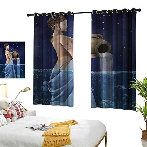 Davishouse Thermal Curtains Aquarius Lady with Pail Privacy Protection 55