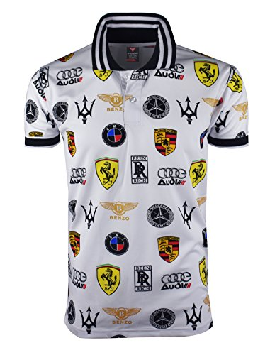 (SCREENSHOT SCREENSHOTBRAND-S11831 Mens Hipster Hip-Hop Premium Tees - Stylish Sport Fashion Auto Racing Print Polo T-Shirt - White-Small)