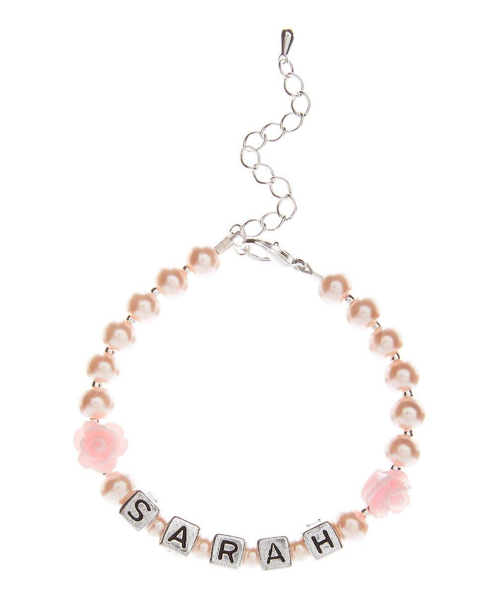 Personalized Name Pink Czech Glass Pearl Infant Keepsake Bracelet (BFPNP_M+)