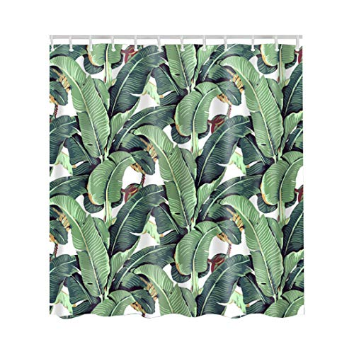 Artown Banana Leaf Shower Curtain, Watercolor Pattern with Tropical Palm Leaves Printing Funny Bright Home Decoration Arts, Washable Polyester Bathroom Decor Set with 12 Hooks, 72 Inches ()