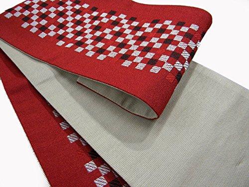 アパートとまり木相続人半巾帯 小袋帯 両面細帯 長尺 市松柄 ゆかた帯