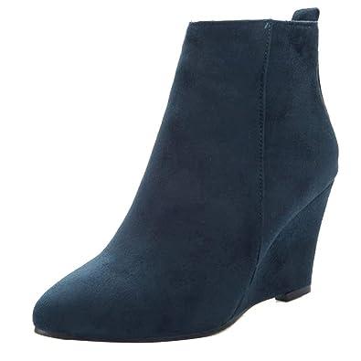 AIYOUMEI Damen Samt Wedge Ankle Boots High Heels Keilabsatz Stiefeletten mit Absatz 8cm Bequem Keilstiefel Winter Warm