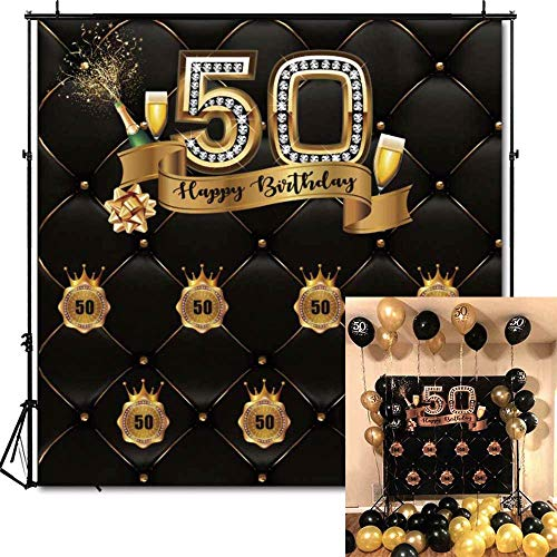 Funnytree 6X6ft 50th Birthday Party Photography Backdrop Adult Step and Repeat Black Tufted Luxury Background Golden Glitter Shiny Fifty Years Old Age Decoration Photo Banner Photobooth Props -