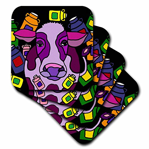 3dRose cst_201768_3 Funny Purple Cow and Milk Jugs Abstract Art Ceramic Tile Coasters (Set of (Cow Coaster)