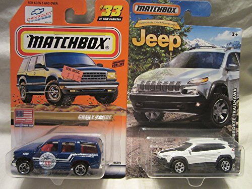 Matchbox Blue Chevy Tahoe #33 & 2014 Jeep Cherokee Trailhawk Die Cast 1/64 Scale 2 Car Bundle! (Matchbox Chevy Tahoe)