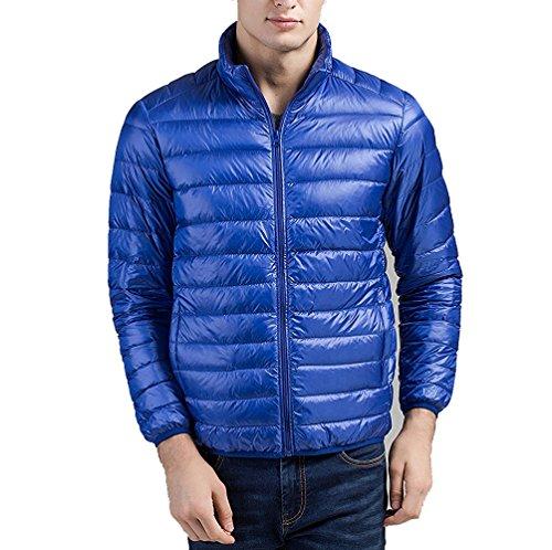 Uomini Sport Inverno Portatili Mens Aperta Leggeri Giù Di Parka Tascabili Blu All'aria Giacche Giacca Cappotti qYzwIz