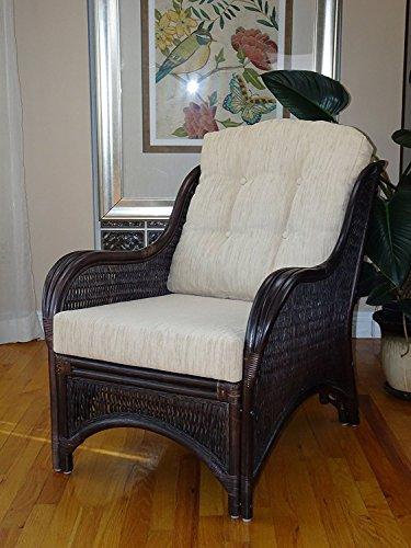 Mr Lounge Chair (Rattan Wicker Furniture MR-DJM Djem Lounge Armchair with Light Biege Cushion, Dark Brown)