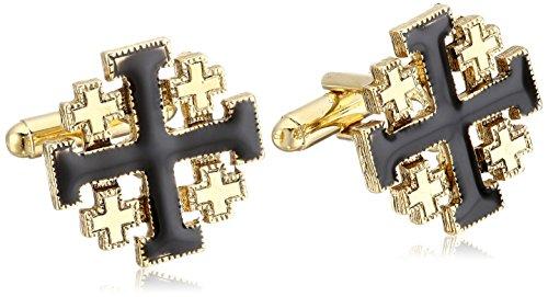 Enamel Cross Cufflinks - Symbols of Faith Unisex 14k Gold-Dipped Black Enamel Jerusalem Cross Cuff Links