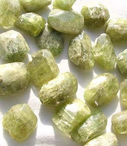 (1 Chatoyant Green Kunzite Faceted Nugget Bead for Jewelry Making 3363B)