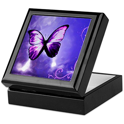 CafePress - Purple Butterfly - Keepsake Box, Finished Hardwood Jewelry Box, Velvet Lined Memento Box