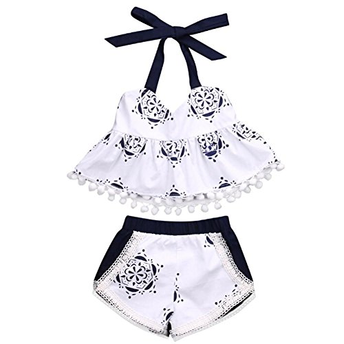 Two-Pieces Summer Clothes Outfits Halter Tops + Shorts Beach wear Sunsuit (2 Piece Sunsuits)