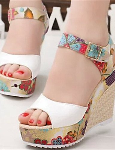 ShangYi Women's Shoes Wedge Heel Open Toe Sandals Dress Blue/Pink/White/Beige