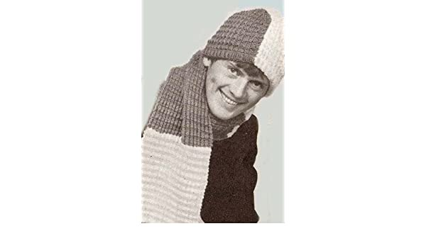 Knit Two Tone Beanie Stocking Cap Hat   Scarf Knitting Pattern ... d7fe7ca795e