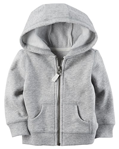 Carters Boys Classic Fleece Zip-Up Hoodie with Pockets (3T, Gray)