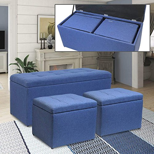 Magshion 3 Piece Linen Storage Ottoman Bench Footrest with 2 Cube Ottoman Set Blue ()