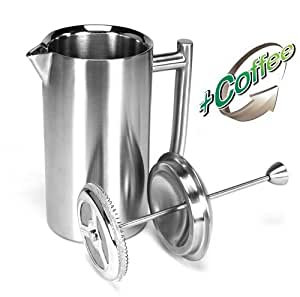 Frieling Brushed Stainless Steel French Press, 8-ounce (Includes 1/2 lb of Gourmet Colombian Coffee)