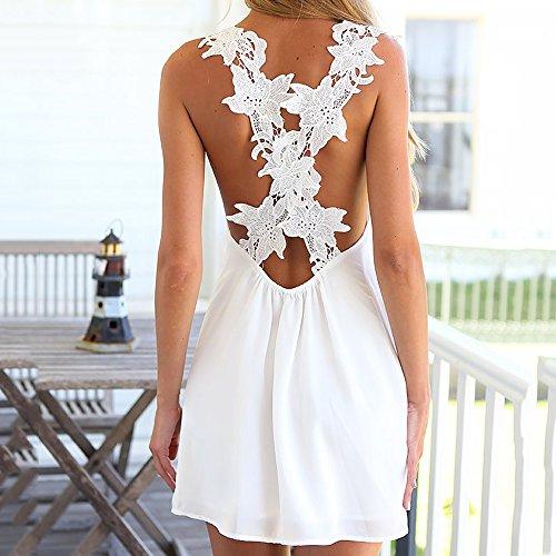 Goodid vestido blanco sin mangas de tirantes con encajes de flores bikini traje de playa-Blanco (L, Para diestros): Amazon.es: Deportes y aire libre