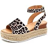 Athlefit Women\s Platform Sandals Espadrille Wedge Ankle Strap Studded Open Toe Sandals Size 6 Leopard