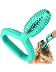 Pawaboo Dog Toothbrush Chew Toys, Bite-resistant Natural Rubber Doggy Toothbrush Stick Dental Care Teeth Clean Massager, Interactive Tugging Game Chew Toys with Large Handle for Large Dogs