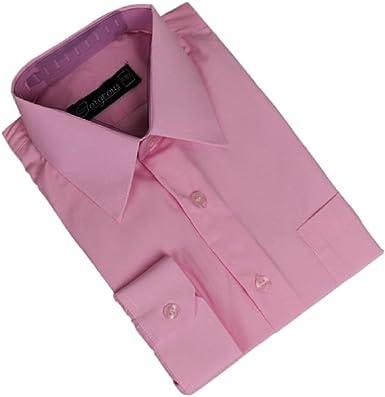 Camisas de manga larga para niños, formales, color rosa, para bodas, bailes, ceremonias, fiestas (6 meses a 16 años)