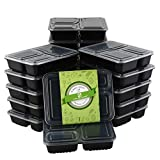 HOMELODY Meal Prep Containers 3 Compartment [20 Pack] Bento Box with Lids,BPA Free Reusable Food Storage Lunch Box,Microwaveable,Dishwasher and Freezer Safe Food Containers for Portion Control (34 oz)