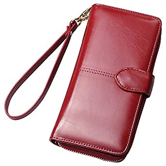 Cckuu Fashion Wax Leather Purse Clutch Wallet Women New Large Capacity Purse Bag(Burgundy)