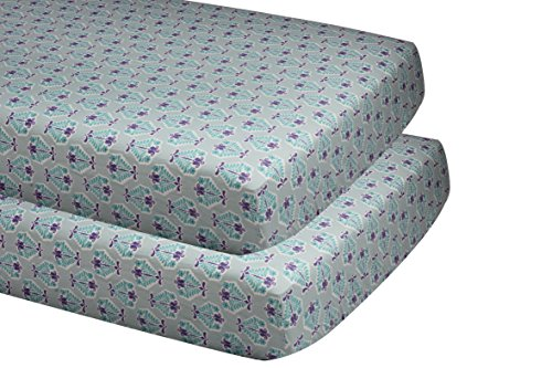 Bacati Isabella Girls Paisley Floret 2 Piece Crib/Toddler Fitted Sheet, Lilac/Purple/Aqua