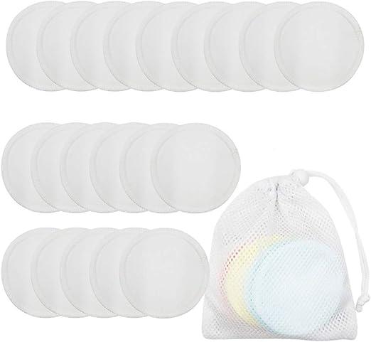 Meiyiu Almohadillas desmaquillantes de Tela de algodón Toallitas de algodón orgánico Lavables Almohadilla desmaquillante Facial Conjunto de 20 Piezas: Amazon.es: Hogar