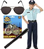 Police Boy Cop Kids Fancy Dress Costume Outfit Sunglasses, Handcuffs, Stick (10-12 years)