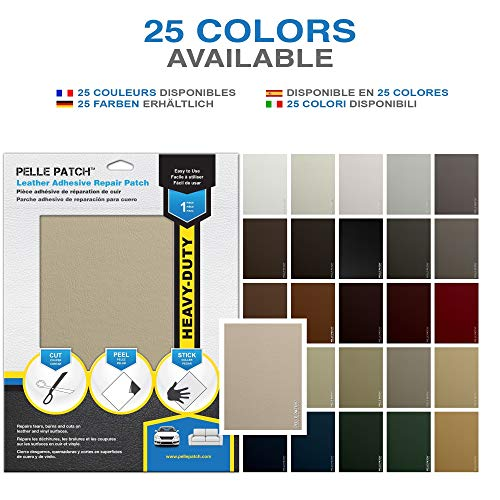 Pelle Patch - Leather & Vinyl Adhesive Repair Patch - 25 Colors Available - Heavy-Duty 8x11 - Cream