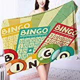 Made of 100% Premium Cotton Bingo Game with Ball and Cards Pop Art Stylized Lottery Hobby Celebration Theme Lightweight, High Absorbency
