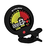 Clip On Guitar Tuner - Premium. Standard, Flat & Capo Tuning. 5 Modes inc. Chromatic, Bass, Violin, Ukulele. Best Acoustic or Electric Digital Vibration Tuners for Various Instrument and All Musician.