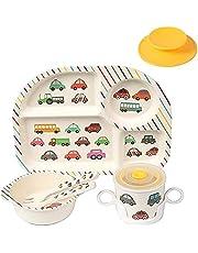 Shopwithgreen Bamboo Kids Dinnerware Set, 7Pcs/Set Kids Dishes, Baby Plate Bowl Cup Spoon Fork Feeding Set Dishware, Eco-Friendly Cartoon Tableware for Children, Dishwasher Safe, BPA Free