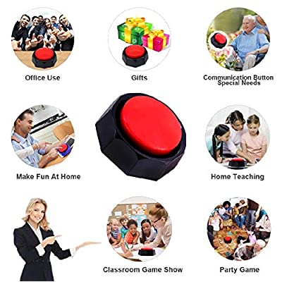 Boskey Recordable Button - Talking Button - Sound Button - Answer Buzzers - Max 30 Seconds Recording (red-Black): Toys & Games